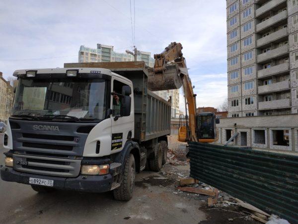Вывоз строительного мусора самосвалом 25т, кузов 20 м.куб
